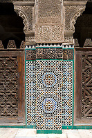 Fes, Morocco.  Medersa Bou Inania.  Geometric Tile Design, Calligraphy, and Stucco Decoration.