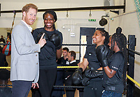 12 June 2019 - Prince Harry Duke of Sussex with Anthony Joshua at the launch of Made by Sport, a new campaign bringing together a coalition of charities supporting disadvantaged young people through sport, at Black Prince Trust in London. Photo Credit: ALPR/AdMedia