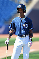 Lake County Captains shortstop Ivan Castillo (9) during practice before a game against the Dayton Dragons on June 7, 2014 at Classic Park in Eastlake, Ohio.  Lake County defeated Dayton 4-3.  (Mike Janes/Four Seam Images)