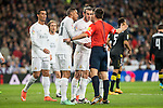 Real Madrid's Cristiano Ronaldo, Gareth Bale and Danilo da Silva protesting the referee after a penalty whistle during La Liga match. March 20,2016. (ALTERPHOTOS/Borja B.Hojas)