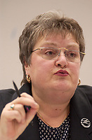 Feb 20, 2002, Montreal, Quebec, Canada; <br /> <br /> Jennie Skene, President of Quebec Nurses Federation (Fédération des Infirmiers et Infirmičres du Québec), <br /> adress the media during a press conference about the government cuts in the health system.<br /> <br /> (Mandatory Credit: Photo by Sevy - Images Distribution (©) Copyright 2002 by Sevy<br /> <br /> NOTE :  D-1 H original JPEG, saved as Adobe 1998 RGB