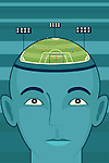 Illustrative image of businessman's head with soccer field representing business strategy