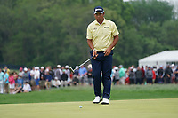 Hideki Matsuyama (JPN) on the 16th green during the final round at the PGA Championship 2019, Beth Page Black, New York, USA. 20/05/2019.<br /> Picture Fran Caffrey / Golffile.ie<br /> <br /> All photo usage must carry mandatory copyright credit (© Golffile | Fran Caffrey)