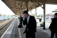 Nick Clegg, the Liberal Democrat party leader, waits for a train to take him back to London after visiting Chippenham in Wiltshire on the campaign trail...