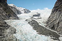 Defiance and Main Icefalls of retreating Franz Josef Glacier, Westland National Park, West Coast, World Heritage, South Island, New Zealand