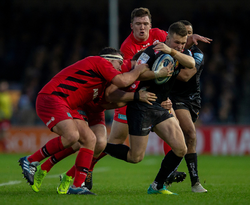 Exeter Chiefs' Joe Simmonds in action during todays match<br /> <br /> Photographer Bob Bradford/CameraSport<br /> <br /> Gallagher Premiership Round 10 - Exeter Chiefs v Saracens - Saturday 22nd December 2018 - Sandy Park - Exeter<br /> <br /> World Copyright © 2018 CameraSport. All rights reserved. 43 Linden Ave. Countesthorpe. Leicester. England. LE8 5PG - Tel: +44 (0) 116 277 4147 - admin@camerasport.com - www.camerasport.com
