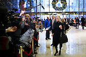 Florida Attorney General Pam Bondi (R) talks with reporters in the lobby of Trump Tower following a meeting with President-elect Donald Trump in New York, New York, USA, 02 December 2016.<br /> Credit: Justin Lane / Pool via CNP