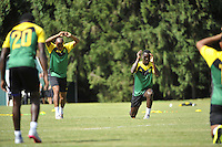 The Jamaican National Team practiced on the Stevenson University's practice field at the Greenspring campus.