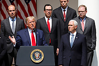 United States President Donald J. Trump delivers remarks before signing H.R. 7010 - PPP Flexibility Act of 2020 in the Rose Garden of the White House in Washington, DC on June 5, 2020.  Pictured from left to right - top row: US Secretary of Labor Eugene Scalia; US Secretary of the Treasury Steven T. Mnuchin; Tomas Philipson, Chairman of the Council of Economic Advisers; and Kevin A. Hassett, Chairman, Council of Economic Advisers.  Bottom row, President President Donald J. Trump and US Vice President Mike Pence.<br /> Credit: Yuri Gripas / Pool via CNP/AdMedia