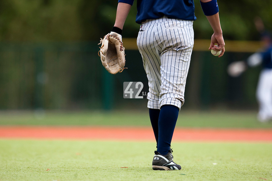 03 october 2009: A player walks prior to game 1 of the 2009 French Elite Finals won 6-5 by Rouen over Savigny in the 11th inning, at Stade Pierre Rolland stadium in Rouen, France.
