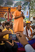 Bharatiya Janta Party's candidate, and minister of parliament, Yogi Aditya Nath speaks to the gathered audience in villages during his campaign in the outskirts of Gorakhpur, Uttar Pradesh, India.