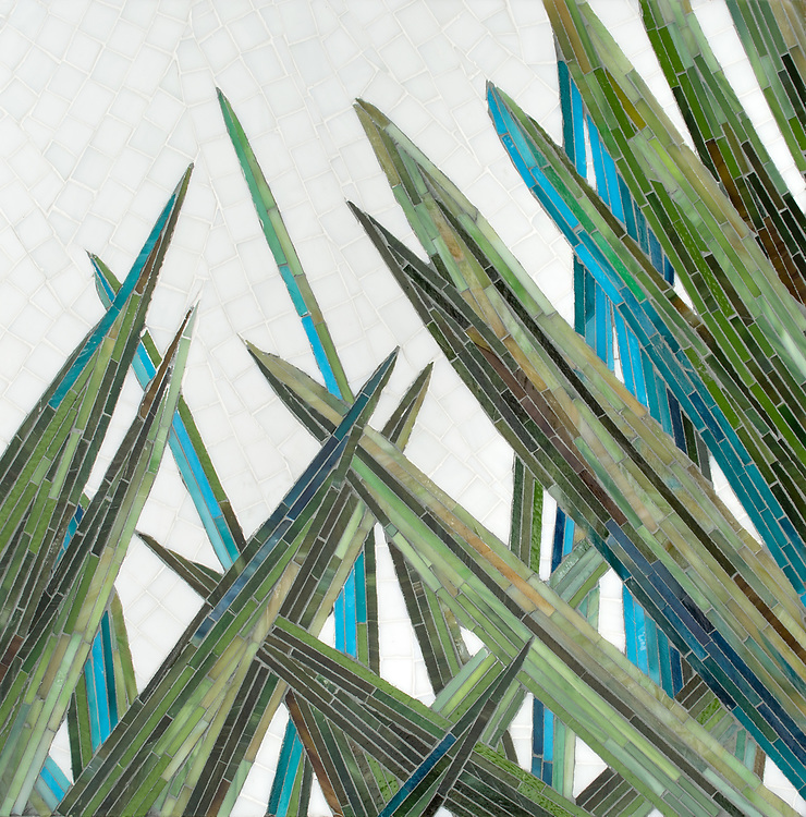 Mod Palm, a hand-cut jewel glass mosaic, shown in Verdite, Peridot, Malachite, Chrysocolla, Savorite, Cat's Eye, Jasper, Schist, Tanzite, and Peridot with Moonstone background with a Sea Glass™ finish. Designed by Joni Vanderslice as part of the J. Banks Collection for New Ravenna.