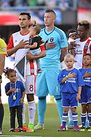 San Jose, CA - Saturday June 17, 2017: Chris Wondolowski, David Bingham prior to a Major League Soccer (MLS) match between the San Jose Earthquakes and the Sporting Kansas City at Avaya Stadium.