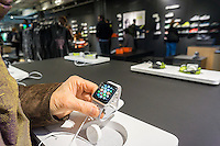 A Customer tries an Apple Watch Nike+ collaboration in the new Nike flagship store on opening day in Soho in New York on Friday, November 18, 2016. Nike is the largest global athletic shoe and clothing maker. (© Richard B. Levine)