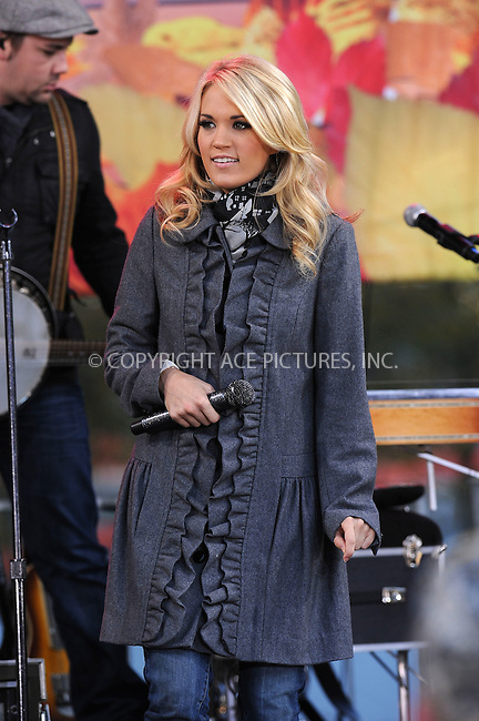 WWW.ACEPIXS.COM . . . . . ....November 3 2009, New York City....Singer Carrie Underwood performing on ABC's 'Good Morning America' at the Lincoln Center for the Performing Arts on November 3, 2009 in New York City.....Please byline: KRISTIN CALLAHAN - ACEPIXS.COM.. . . . . . ..Ace Pictures, Inc:  ..tel: (212) 243 8787 or (646) 769 0430..e-mail: info@acepixs.com..web: http://www.acepixs.com