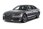 2018 Audi S8 4.0-TFSI-quattro-Tiptronic-Plus  4 Door Sedan angular front stock photos of front three quarter view