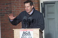 Representative Seth Moulton at Save Affordable Care Act rally with MA Congressional delegation at Faneuil Hall Boston MA 1.15.17