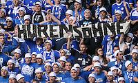 Fussball 1. Bundesliga :  Saison   2012/2013   8. Spieltag  20.10.2012 Borussia Dortmund - FC Schalke 04 Schalke Fans mit einem Banner HURENSOEHNE