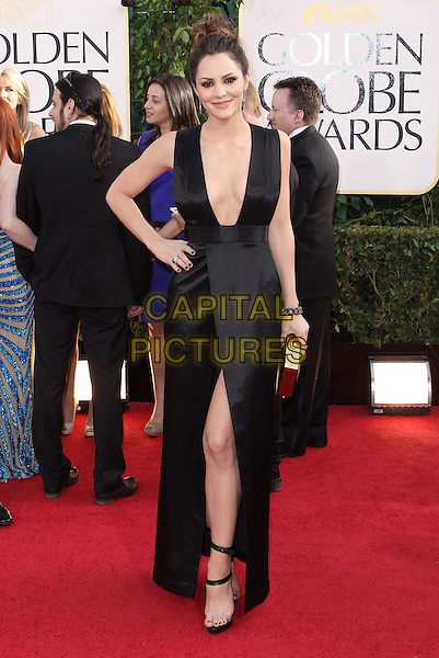 Katharine McPhee.70th Annual Golden Globe Awards held at the Beverly Hilton Hotel, Hollywood, California, USA. .January 13th, 2013.globes full length black dress sleeveless side hair up bun slit split hand on hip clutch bag plunging neckline cleavage.CAP/ADM/SLP/COL.©Collin/Starlitepics/AdMedia/Capital Pictures.