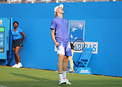 June 19th 2017, Queens Club, West Kensington, London; Aegon Tennis Championships, Day 1; Denis Shapovalov of Canada celebrates after defeating Kyle Edmund of Great Britain in the third and final set