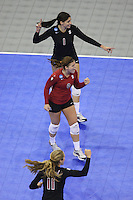 Omaha, NE - DECEMBER 20:  Outside hitter Cynthia Barboza #1, libero Gabi Ailes #9, and defensive specialist Jessica Fishburn #11 of the Stanford Cardinal during Stanford's 20-25, 24-26, 23-25 loss against the Penn State Nittany Lions in the 2008 NCAA Division I Women's Volleyball Final Four Championship match on December 20, 2008 at the Qwest Center in Omaha, Nebraska.