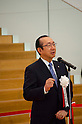 """September 17, 2011 : Yokohama, Japan - Koki Ando, president of Nisshin Foods Inc., gives a complimentary speech during the grand opening of the Nissin Cup Noodles Museum. Visitors can learn about the history of the Cup Noodles product and partake in a session to make their own homemade instant ramen noodles at the museum's """"Chikin Noodle Factory"""". The museum's art director, Kashiwa Sato, is also in charge of graphic design for the massive Japanese clothes retailer Uniqlo. (Photo by Yumeto Yamazaki/AFLO)"""