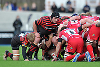 Matt Stevens prepares to scrummage against his opposite number. Aviva Premiership match, between Saracens and London Welsh on March 3, 2013 at Allianz Park in London, England. Photo by: Patrick Khachfe / Onside Images