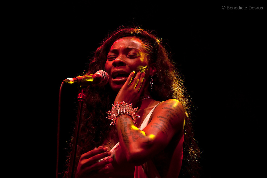 African-Spanish singer Concha Buika performs on stage during her concert at El Plaza Condesa in Mexico City, Mexico on September 26, 2013. (Photo by Benedicte Desrus)
