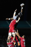 Maro Itoje of Saracens rises high to win lineout ball. European Rugby Champions Cup match, between Saracens and the Scarlets on October 22, 2016 at Allianz Park in London, England. Photo by: Patrick Khachfe / JMP