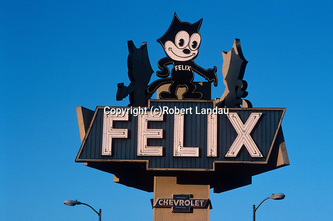 Felix Chevrolet sign over auto dealership on Figueroa in Los Angeles, CA
