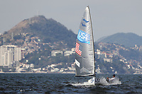 RIO DE JANEIRO, BRAZIL - AUGUST 16:  Caleb Paine of the United States sails on his way to winning the bronze medal in the Finn class on Day 11 of the Rio 2016 Olympic Games at the Marina da Gloria on August 16, 2016 in Rio de Janeiro, Brazil.  (Photo by Clive Mason/Getty Images)