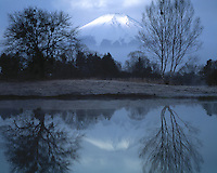 Mt. Fuji and Reflection, Fuji-Hazone-Izu National Park, Japan  12,388 foot dormant volcano Reflected in Tsurga Ponds/Oshino