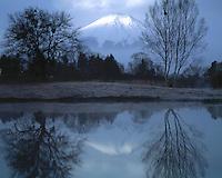 Mt. Fuji and Reflection, Fuji-Hazone-Izu National Park, Japan  12,388 foot dormant volcano Reflected in Tsurga Ponds/Oshino