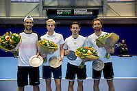 Rotterdam, Netherlands, December 14, 2016, Topsportcentrum, Lotto NK Tennis,  doubles winners  Sidney de Boer and his partner Botic van de Zandschulp  and runners up Wesley Koolhof and Matwe Middelkoop ltr<br /> Photo: Tennisimages/Henk Koster