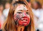 Zombie Walk Seoul, Oct 17, 2015 : A woman attends Zombie Walk Seoul in central Seoul, South Korea. (Photo by Lee Jae-Won/AFLO) (SOUTH KOREA)