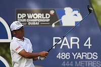Hideto Tanihara (JPN) on the 16th tee during the 2nd round of the DP World Tour Championship, Jumeirah Golf Estates, Dubai, United Arab Emirates. 16/11/2018<br /> Picture: Golffile | Fran Caffrey<br /> <br /> <br /> All photo usage must carry mandatory copyright credit (© Golffile | Fran Caffrey)