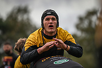 Ampthill Rugby players warm up ahead of the Greene King IPA Championship match between Ampthill RUFC and Nottingham Rugby on Ampthill Rugby's Championship Debut at Dillingham Park, Woburn St, Ampthill, Bedford MK45 2HX, United Kingdom on 12 October 2019. Photo by David Horn.