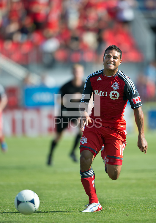 28 July 2012:Toronto FC forward Quincy Amarikwa #18  in action during an MLS game between Toronto FC and the Houston Dynamo at BMO Field in Toronto,Ontario Canada...