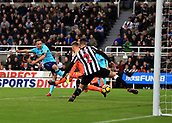 4th November 2017, St James Park, Newcastle upon Tyne, England; EPL Premier League football, Newcastle United Bournemouth; Marc Pugh of AFC Bournemouth shot is deflected onto the post by Rob Elliot and Ciaran Clark of Newcastle United late in the 0-1 win