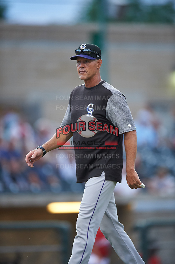 Grand Junction Rockies pitching coach Blaine Beatty (38) walks toward the dugout during a Pioneer League game against the Billings Mustangs at Dehler Park on August 14, 2019 in Billings, Montana. Grand Junction defeated Billings 8-5. (Zachary Lucy/Four Seam Images)