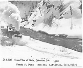 Engine with wedge pilot plow, flanger and pusher engine plowing through snow in Animas Canyon.<br /> D&amp;RGW  Silverton Branch, CO  Taken by Duca, Frank J. - 1920