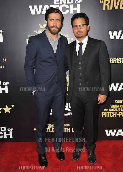 "Jake Gyllenhaal & Michael Pena (right) at the premiere of their movie ""End of Watch"" at the Regal Cinemas LA Live..September 17, 2012  Los Angeles, CA.Picture: Paul Smith / Featureflash"