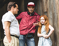 The Glass Castle (2017) <br /> Behind the scenes photo of Woody Harrelson, Ella Anderson &amp; Destin Daniel Cretton<br /> *Filmstill - Editorial Use Only*<br /> CAP/KFS<br /> Image supplied by Capital Pictures