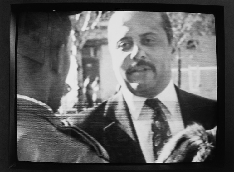 Philadelphia Mayor Candidate broadcasted on television while campaigning on May 20, 1991. (Photo by Laura Patterson/CQ Roll Call via Getty Images)