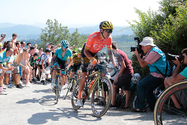Olympic Champion Greg Van Avermaet (BEL) CCC Team summits the fearsome Cat2 Murgil climb on the 1st ascent during the 2019 Clasica Ciclista San Sebastian, running 227.3km starting and finishing in Donostia-San Sebastián, Spain. 3rd August 2019.<br /> Picture: Colin Flockton | Cyclefile<br /> All photos usage must carry mandatory copyright credit (© Cyclefile | Colin Flockton)