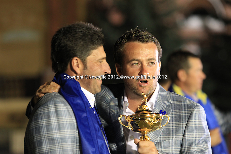 Winning European Team Captain Jose Maria Olazabal (ESP) and Graeme McDowell (NIR) after Sunday's Singles Matches of the 39th Ryder Cup at Medinah Country Club, Chicago, Illinois 30th September 2012 (Photo Colum Watts/www.golffile.ie)