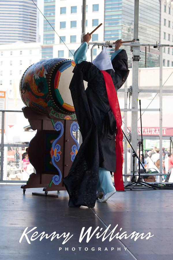 Taiko Drummer, Dragon Fest 2015, Chinatown, Seattle, Washington, USA