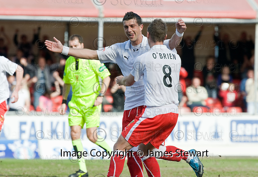 10/04/2010   Copyright  Pic : James Stewart.sct_jsp04_falkirk_v_st_mirren  .::  PEDRO MOUTINHO IS CONGRATULEATED BY BURTON O'BRIEN AFTER HE SCORES FALKIRK'S FIRST ::  .James Stewart Photography 19 Carronlea Drive, Falkirk. FK2 8DN      Vat Reg No. 607 6932 25.Telephone      : +44 (0)1324 570291 .Mobile              : +44 (0)7721 416997.E-mail  :  jim@jspa.co.uk.If you require further information then contact Jim Stewart on any of the numbers above.........