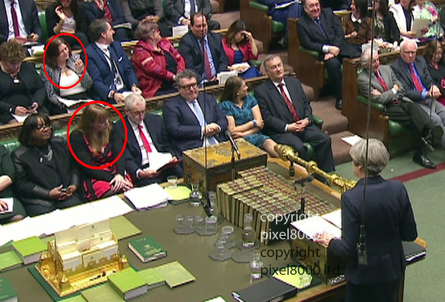 Pic shows: Theresa May announces Brexit in the Commons answers questions on the day Brexit was triggered.<br /> 29.3.17<br /> <br /> Jeremy Corbyn's supporters including Angela Rayner - red dress -  used the power of the cleavage as they sat next to him and beside him during his response<br /> <br /> <br /> <br /> Picture by Pixel8000 07917221968