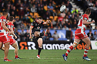 Blake Green kicks.<br /> NRL Premiership rugby league. Vodafone Warriors v St George Illawarra. Mt Smart Stadium, Auckland, New Zealand. Friday 20 April 2018. &copy; Copyright photo: Andrew Cornaga / www.Photosport.nz